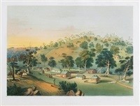 angaston, evening,. plate 28 from south australia illustrated by george french angas