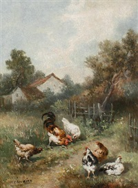 chickens on a country path by louis marie lemaire