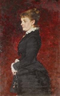 porträtt - dam i svart klänning by axel jungstedt