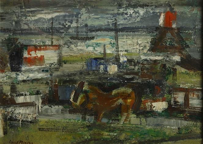 landschap met paard boten en vuurtoren by paul maas