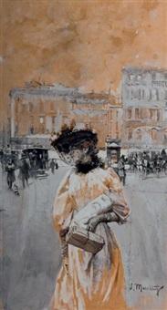 élégante au milieu d'une rue parisienne by serafino macchiati