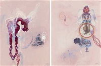 wings, veils and dresses i (+ untitled; 2 works) by shahzia sikander