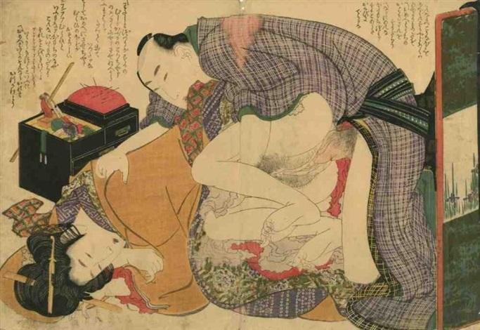 oban yoko e tsui no hinagata modèles de couples amants en pleine étreinte une boîte à couture à côté by katsushika hokusai