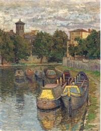 boats on regent's canal (+ lansdcape, verso) by kalman kemeny