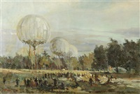 day at the balloon launch by ershov