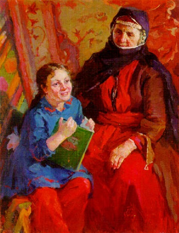 young girl with grandmother by zhenia arutyunyan