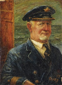 self-portrait as the old commodore by george grosz
