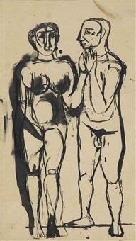 untitled (two figures) by tyeb mehta