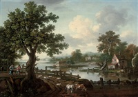 a wooded river landscape with drovers and their animals on a track by william tomkins