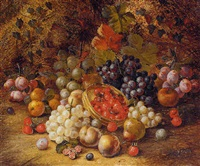 still life with grapes, berries, apples and plums on a mossy bank by henry j. livens