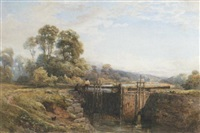 two figures resting by a lock by s. g. william roscoe