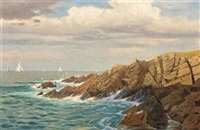 rocks off newport, rhode island by william stanley haseltine