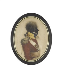 a half-length silhouette of an officer of the 12th (east suffolk) regiment of foot, profile to the right, wearing scarlet coat, crimson sash by john buncombe