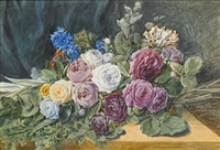 still life of roses and other flowers on a table (+ still life of roses and other flowers in a basket; pair) by valentine bartholomew