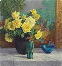 still life with yellow roses and figurine by frederic m. grant