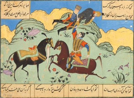ISFANDIYAR LIFTS KOHROM FROM HIS HORSE by Anonymous-Persian-Safavid