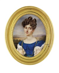 a young lady in dress with blue velvet bodice by charles claude noisot