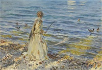 girl fishing by john singer sargent