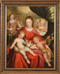 vierge à l'enfant accompagnée de saint jean-baptiste et d'anges musiciens by hieronymus francken the elder