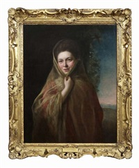 half-length portrait of a lady, wearing a shawl, sunset landscape in the distance by nathaniel hone the elder