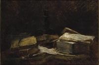 nature morte aux livres et à la plume by jules emmanuel valadon