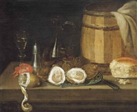 oysters on a porcelain dish, a partly peeled lemon, a bread roll, a barrel, a salt cellar, a langoustine, a façon de venise glass and a jug... by anglo-dutch school (18)