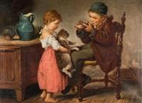 enfants jouant au chat et à la souris by géza peske