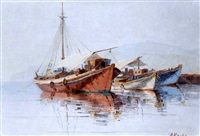 boats at anchor by antonis kanas