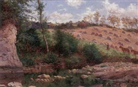 landscape with harvesters by thomas j. banks