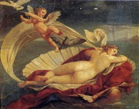 venus reclining on a shell by andrea appiani the younger