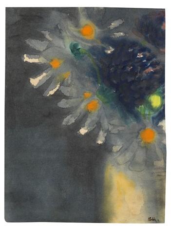 blumenstillleben mit weißen und blauen blüten by emil nolde