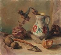 stilleben (mit fischgräte und sonnenblume im krug) by karl papesch
