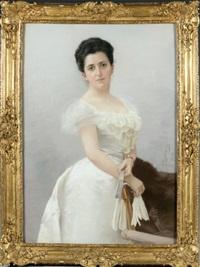 portrait de madame marie louise achille fould, née heine en robe blanche by federico quercia