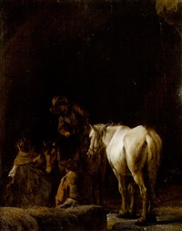 figures and horses resting inside a cave by pieter cornelius verbeeck