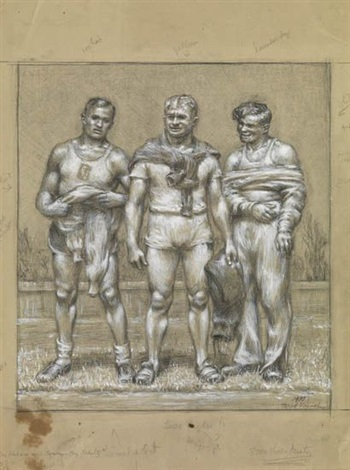 three male athletes by jared french