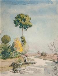 route de campagne animée by alfred adolphe edouard lepère