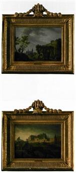 vue de tournai (+ de la cathédrale les lavandières dans les faubourgs; pair) by jacques-albert senave