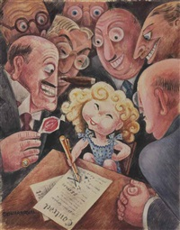 shirley temple signs a new contract by miguel covarrubias