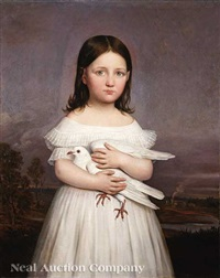 portrait of jeanne roman (1836-1889) holding a dove, daughter of aimée françoise parent (b. 1797) and louisiana governor andré bienvenu roman (1795-1866) by jacques guillaume lucien amans