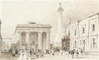 devonport guildhall (+ devonport forestreet; pair) by thomas allom