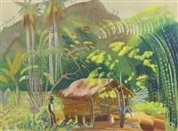 native hut, brazil by boris dmitrievich grigoriev