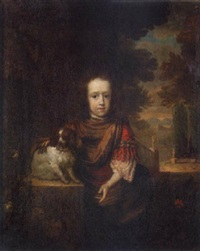 portrait of a young boy with a spaniel, an ornamental garden beyond by aleijda wolfsen