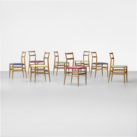 leggera chairs set of 8 by gio ponti