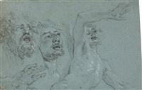 studienblatt mit zwei aufblickenden männerköpfen, einer hand und einem männlichen halbakt (+ skizze einer hand, verso) by michel corneille the younger