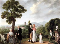 daniel schlumberger and his family in an alpine landscape by françois joseph wachsmuth