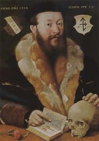 a portrait of a bearded man, aged 39, wearing a fur-lined black coat and a black beret by hermann tom ring
