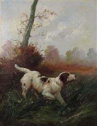 chien de chasse à l'arrêt by gaston gélibert