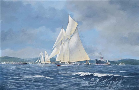 westward racing on the clyde with the paddle steamer marmion off her starboard beam and britannia and westward racing to windward on the clyde pair by john j holmes