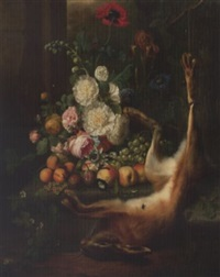 roses, peonies, a poppy, morning glory and other flowers with peaches, plums and grapes on a stone ledge with a dead hare amidst ruins in a landscape by joris ponse