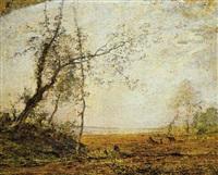 paesaggio lacustre con pastore by vittorio avondo